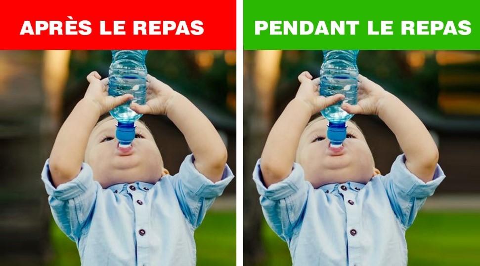 boire eau apres repas