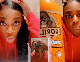 Une femme a révélé qu'elle avait fixé ses cheveux avec le spray Gorilla Glue et qu'elle n'avait pas pu l'enlever depuis un mois - même après 15 lavages.